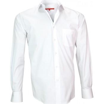 Vêtements Homme Chemises manches longues Andrew Mc Allister chemise en popeline bristol blanc Blanc
