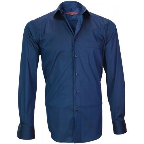 Vêtements Homme Chemises manches longues Andrew Mc Allister chemise en popeline bristol bleu Bleu