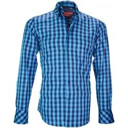 Vêtements Homme Chemises manches longues Andrew Mc Allister chemise double col cardiff bleu Bleu