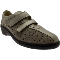 Chaussures Femme Baskets basses Loren Article M2472 velcro sable en cuir perforé beige blu