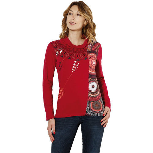 Coline Tee shirt ethnique col montant Rouge 16424579