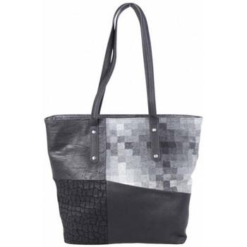 Sacs Femme Cabas / Sacs shopping Patrick Blanc Sac cabas trapèze  motif patchwork noir gris Noir