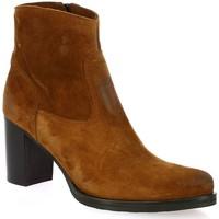 Chaussures Femme Bottines Spaziozero Spazio 08 Boots cuir velours Cognac