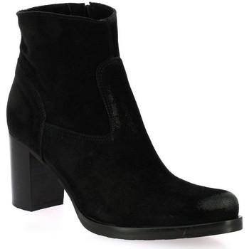 Chaussures Femme Bottines Spaziozero Spazio 08 Boots cuir velours Noir