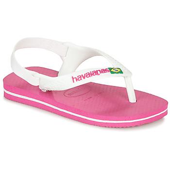 Chaussures Fille Tongs Havaianas BABY BRASIL LOGO II Pink / White