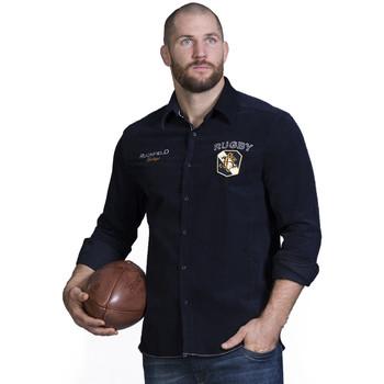 Vêtements Homme Chemises manches longues Ruckfield Chemise velours marine Bleu