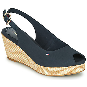 Chaussures Femme Sandales et Nu-pieds Tommy Hilfiger ICONIC ELBA SLING BACK WEDGE Navy