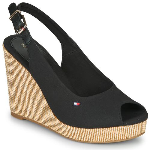 Chaussures Femme Sandales et Nu-pieds Tommy Hilfiger ICONIC ELENA SLING BACK WEDGE Black