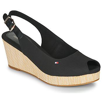 Chaussures Femme Sandales et Nu-pieds Tommy Hilfiger ICONIC ELBA SLING BACK WEDGE Black