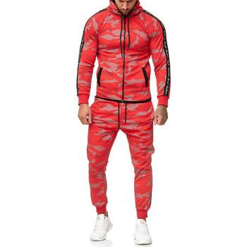 Vêtements Homme Ensembles de survêtement Monsieurmode Survêtement homme camouflage Survêt 1011 rouge Rouge