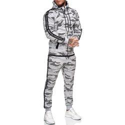 Vêtements Homme Ensembles de survêtement Monsieurmode Survêtement homme camouflage Survêt 1011 gris Gris