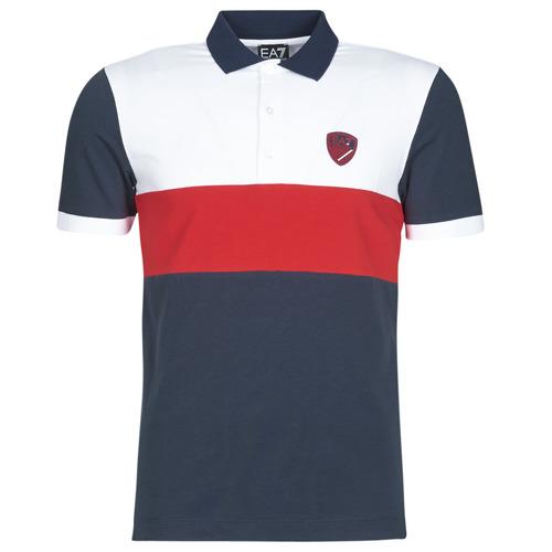 Vêtements Homme Polos manches courtes Emporio Armani EA7 SEA WORLD ST TROPEZ Marine / Blanc / Rouge