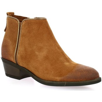 Chaussures Femme Bottines Pao Boots cuir velours Cognac