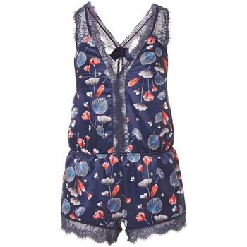 Vêtements Femme Pyjamas / Chemises de nuit Pommpoire Combishort imprimé bleu Espiègle Bleu