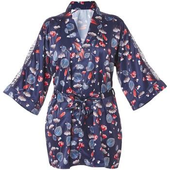 Vêtements Femme Pyjamas / Chemises de nuit Pommpoire Kimono imprimé bleu Espiègle Bleu