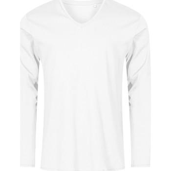 Vêtements Homme T-shirts manches longues X.o By Promodoro T-shirt manches longues col V Hommes blanc