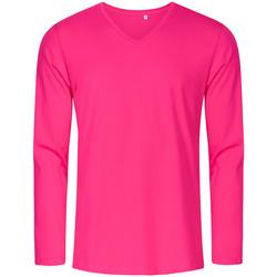 Vêtements Homme T-shirts manches longues Promodoro T-shirt manches longues col V Hommes fushia