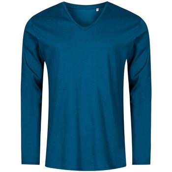 Vêtements Homme T-shirts manches longues Promodoro T-shirt manches longues col V Hommes pétrole