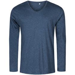 Vêtements Homme T-shirts manches longues X.o By Promodoro T-shirt manches longues col V Hommes Bleu marine chiné