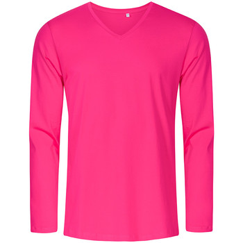 Vêtements Homme T-shirts manches longues Promodoro T-shirt manches longues col V grandes tailles Hommes fushia