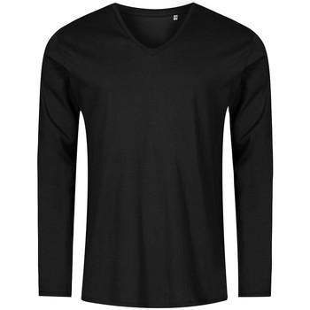 Vêtements Homme T-shirts manches longues Promodoro T-shirt manches longues col V grandes tailles Hommes noir