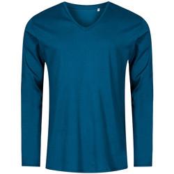 Vêtements Homme T-shirts manches longues Promodoro T-shirt manches longues col V grandes tailles Hommes pétrole