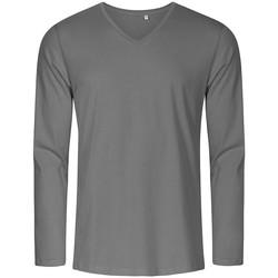Vêtements Homme T-shirts manches longues Promodoro T-shirt manches longues col V grandes tailles Hommes gris acier
