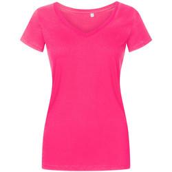 Vêtements Femme T-shirts manches courtes Promodoro T-shirt col V Femmes fushia