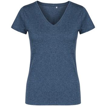 Vêtements Femme T-shirts manches courtes X.o By Promodoro T-shirt col V Femmes Bleu marine chiné