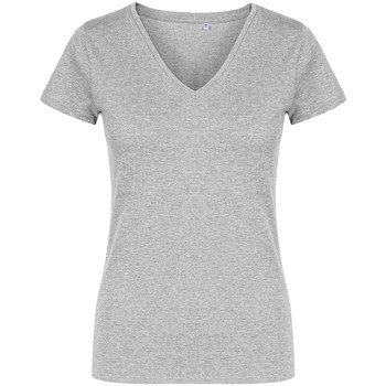 Vêtements Femme T-shirts manches courtes X.o By Promodoro T-shirt col V grandes tailles Femmes gris chiné