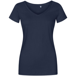Vêtements Femme T-shirts manches courtes X.o By Promodoro T-shirt col V Femmes bleu marine français
