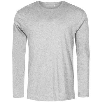 Vêtements Homme T-shirts manches longues Promodoro T-shirt manches longues col rond grandes tailles Hommes gris chiné