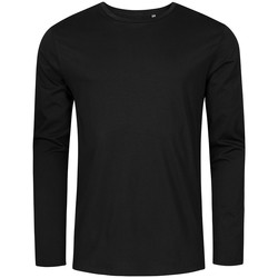 Vêtements Homme T-shirts manches longues X.o By Promodoro T-shirt manches longues col rond grandes tailles Hommes noir