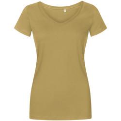Vêtements Femme T-shirts manches courtes X.o By Promodoro T-shirt col V Femmes vert olive