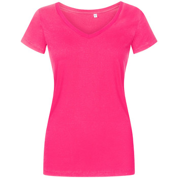 Vêtements Femme T-shirts manches courtes X.o By Promodoro T-shirt col V grandes tailles Femmes fushia