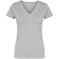 Vêtements Femme T-shirts manches courtes X.o By Promodoro T-shirt col V Femmes gris chiné