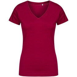 Vêtements Femme T-shirts manches courtes X.o By Promodoro T-shirt col V grandes tailles Femmes framboise