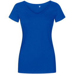 Vêtements Femme T-shirts manches courtes Promodoro T-shirt col V grandes tailles Femmes bleu azure