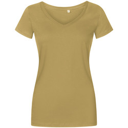 Vêtements Femme T-shirts manches courtes X.o By Promodoro T-shirt col V grandes tailles Femmes vert olive