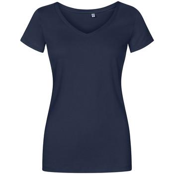 Vêtements Femme T-shirts manches courtes Promodoro T-shirt col V grandes tailles Femmes bleu marine français