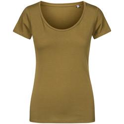 Vêtements Femme T-shirts manches courtes X.o By Promodoro T-shirt décolleté Femmes vert olive