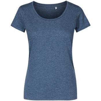 Vêtements Femme T-shirts manches courtes X.o By Promodoro T-shirt décolleté Femmes Bleu marine chiné