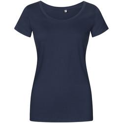 Vêtements Femme T-shirts manches courtes Promodoro T-shirt décolleté grande taille Femmes bleu marine français