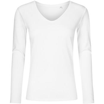 Vêtements Femme T-shirts manches longues Promodoro T-shirt manches longues col V Femmes blanc