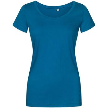 Vêtements Femme T-shirts manches courtes Promodoro T-shirt décolleté grande taille Femmes pétrole