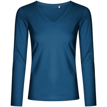Vêtements Femme T-shirts manches longues X.o By Promodoro T-shirt manches longues col V Femmes pétrole