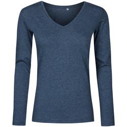 Vêtements Femme T-shirts manches longues X.o By Promodoro T-shirt manches longues col V Femmes Bleu marine chiné