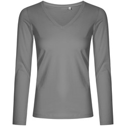 Vêtements Femme T-shirts manches longues X.o By Promodoro T-shirt manches longues col V grandes tailles Femmes gris acier