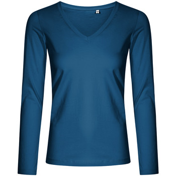 Vêtements Femme T-shirts manches longues X.o By Promodoro T-shirt manches longues col V grandes tailles Femmes pétrole