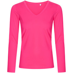 Vêtements Femme T-shirts manches longues X.o By Promodoro T-shirt manches longues col V grandes tailles Femmes fushia